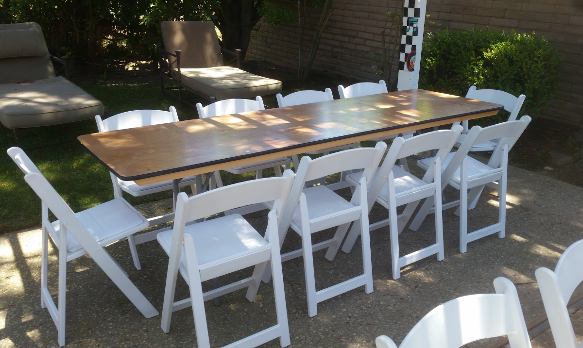 8 ft Banquet Tables & Garden Chair Party Rentals Los Angeles - Big Blue Sky Party Rentals - www.bigblueskyparty.com