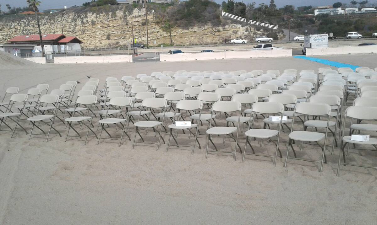 Beige Folding Chairs for Rent in Los Angeles, CA - Big Blue Sky Party Rentals - www.bigblueskyparty.com
