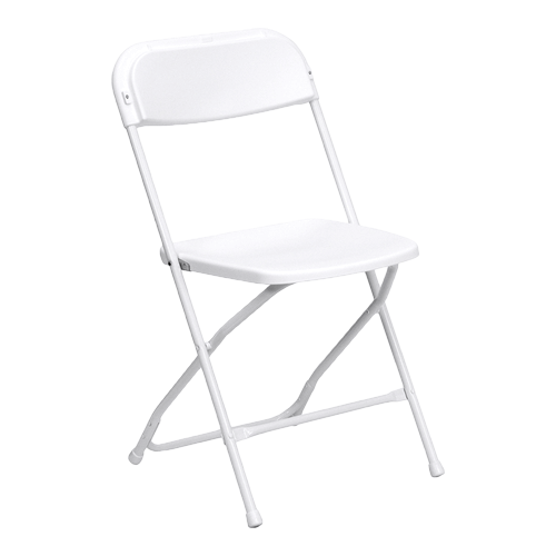White Folding Party Chair Rentals for rent and delivery in Los Angeles & El Segundo