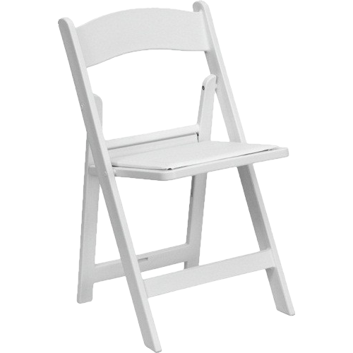 White Resin Padded Folding Chairs for weddings and parties for rent in Los Angeles, Malibu, Calabasas, Santa Monica, Torrance and Redondo Beach.