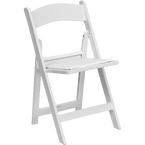White Resin Padded Folding Party Chairs in Marina del Rey