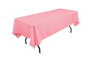 Pink rectangular tablecloths for rent for 6 ft tables.