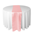 Pink satin table runners for rent in Los Angeles.