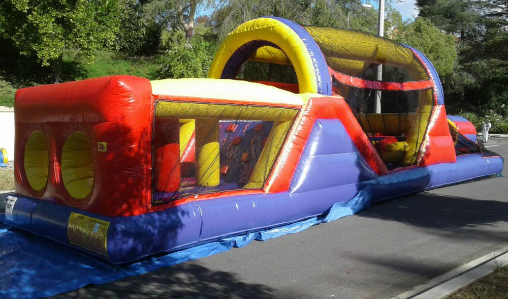 Our 40 ft Inflatable Obstacle Course for rent from Big Blue Sky Party Rentals Los Angeles, CA