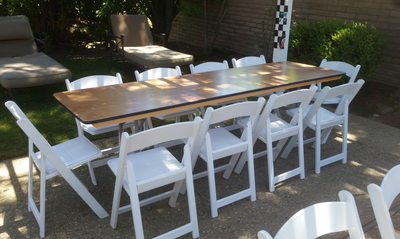 8 Ft Rectangular Wood Folding Table Rental Wedding Rentals