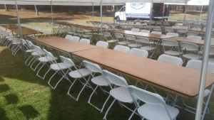 White Folding Chair Rentals with 8 ft Table Rentals