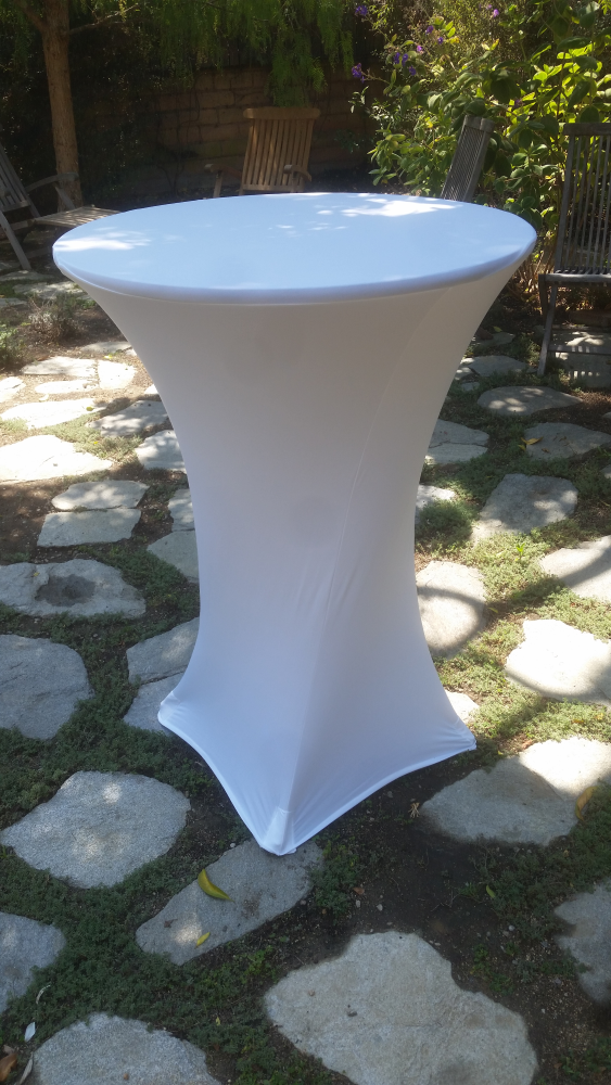 Spandex Cocktail Pedestal Table Cover Rentals - Big Blue Sky Party Rentals - www.bigblueskyparty.com