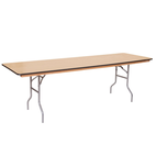 8 ft Wood rectangular banquet tables for rent in Los Angeles.