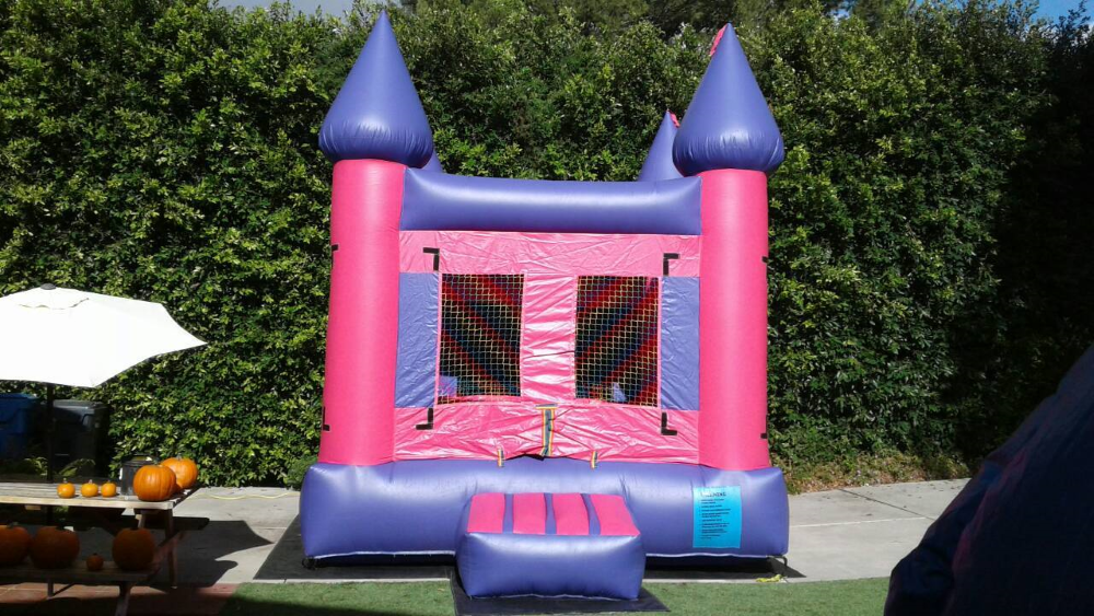 Pink and Purple Bounce House rental that is great for Doc McStuffins themed kids party.