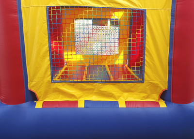 Inflatable Mini Bounce House Rental - Exterior view of window with net.