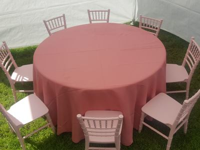 Kids Pink Chair Rentals with Pink Party Table