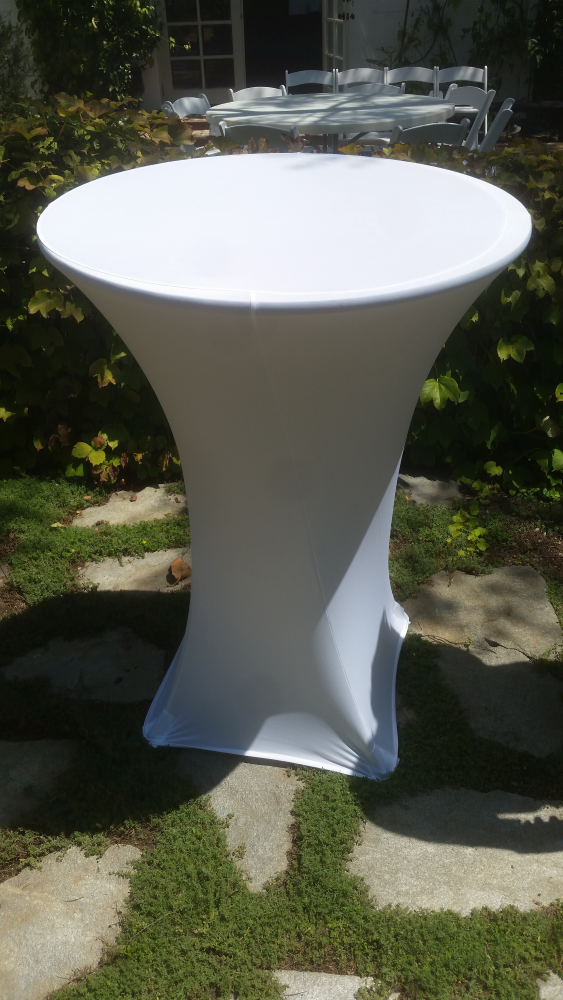 Highboy Cocktail Pedestal Table Rentals with Spandex Tablecloths for rent in Los Angeles, CA - Big Blue Sky Party Rentals - www.bigblueskyparty.com