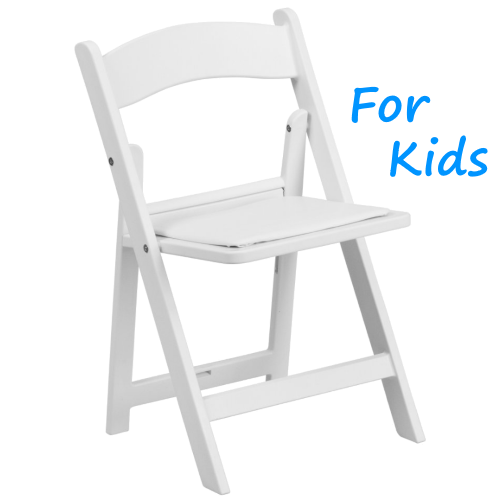 White Padded Kids Folding Chair Rentals